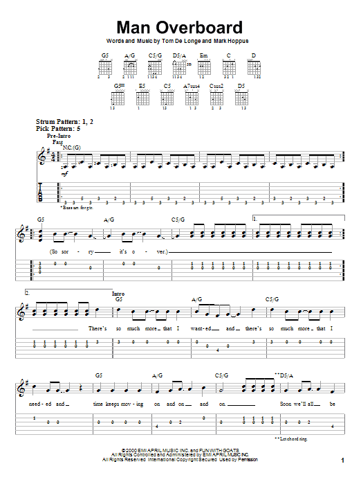 Man Overboard (Easy Guitar Tab)