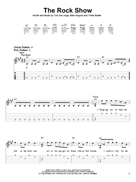 Tablature guitare The Rock Show de Blink-182 - Tablature guitare facile
