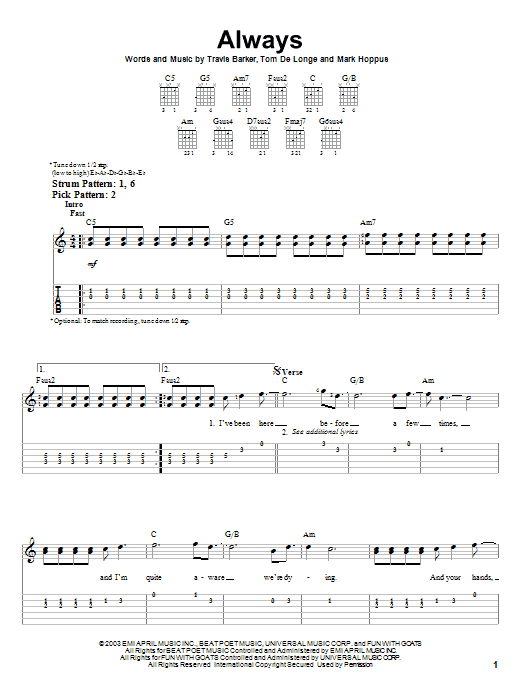 Tablature guitare Always de Blink-182 - Tablature guitare facile