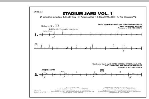 Stadium Jams - Vol. 1 - Cymbals (Marching Band)
