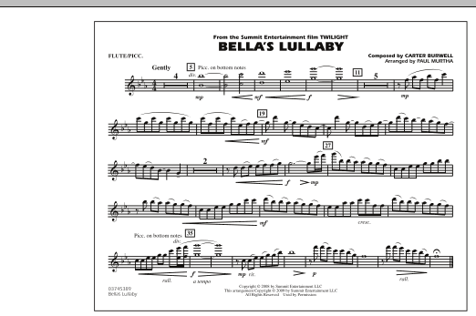 """Bella's Lullaby (from """"Twilight"""") - Flute/Piccolo (Marching Band)"""