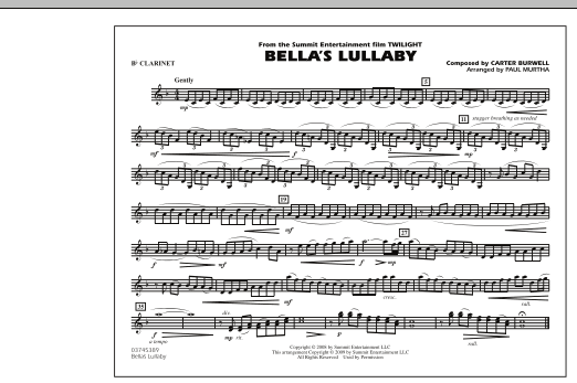 """Bella's Lullaby (from """"Twilight"""") - Bb Clarinet (Marching Band)"""