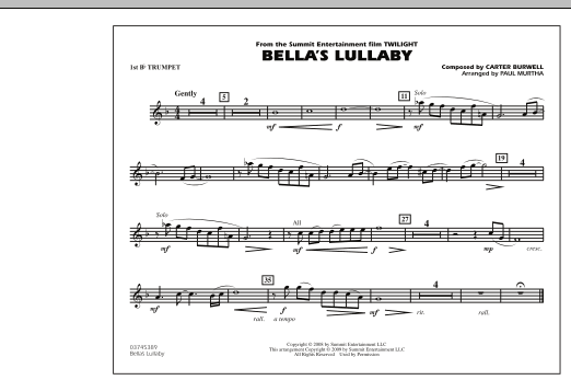 """Bella's Lullaby (from """"Twilight"""") - 1st Bb Trumpet (Marching Band)"""