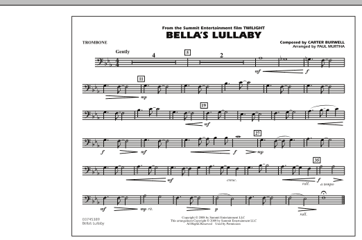 """Bella's Lullaby (from """"Twilight"""") - Trombone (Marching Band)"""