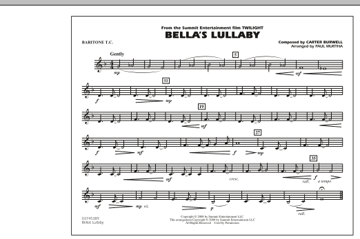"""Bella's Lullaby (from """"Twilight"""") - Baritone T.C. (Marching Band)"""