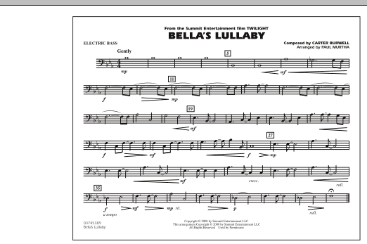 """Bella's Lullaby (from """"Twilight"""") - Electric Bass (Marching Band)"""