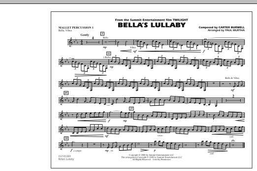 """Bella's Lullaby (from """"Twilight"""") - Mallet Percussion 1 (Marching Band)"""