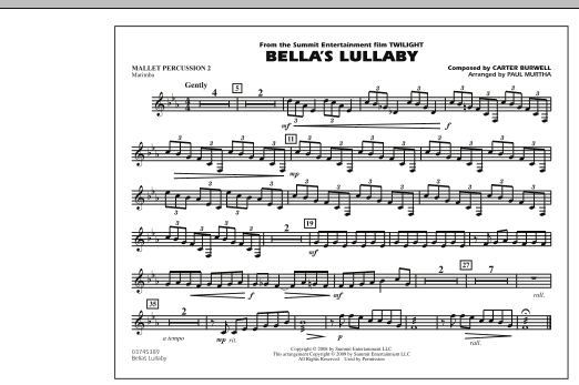 """Bella's Lullaby (from """"Twilight"""") - Mallet Percussion 2 (Marching Band)"""