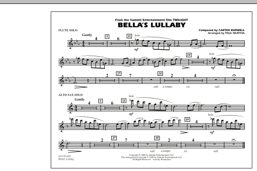 """Bella's Lullaby (from """"Twilight"""") - Solo Sheet (Marching Band)"""