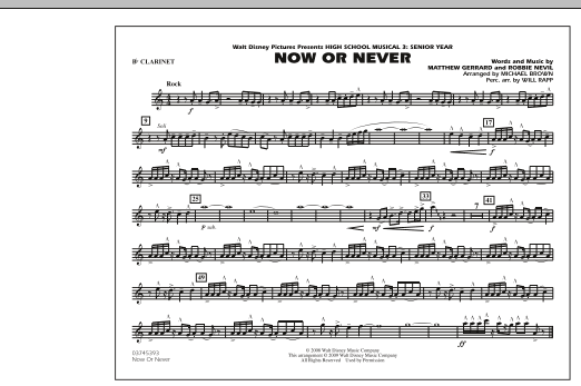 "Now or Never (from ""High School Musical 3"") - Bb Clarinet (Marching Band)"