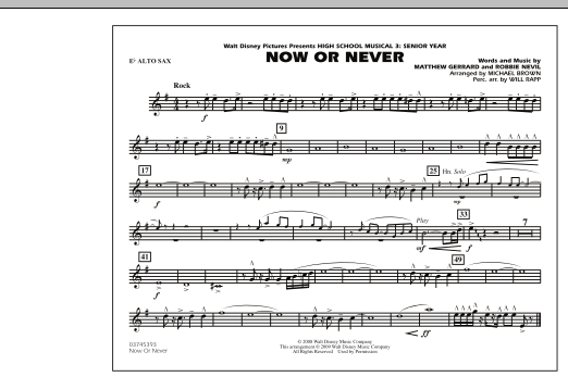 "Now or Never (from ""High School Musical 3"") - Eb Alto Sax (Marching Band)"