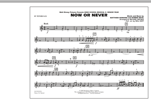 "Now or Never (from ""High School Musical 3"") - Bb Tenor Sax (Marching Band)"