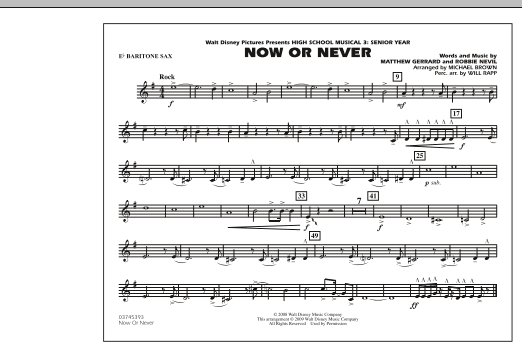 """Now or Never (from """"High School Musical 3"""") - Eb Baritone Sax (Marching Band)"""