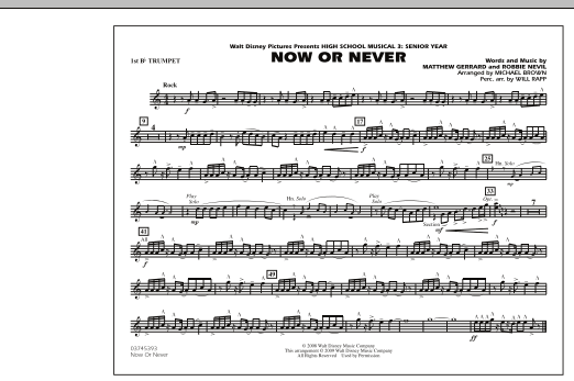 "Now or Never (from ""High School Musical 3"") - 1st Bb Trumpet (Marching Band)"