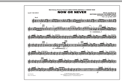 "Now or Never (from ""High School Musical 3"") - 2nd Bb Trumpet (Marching Band)"
