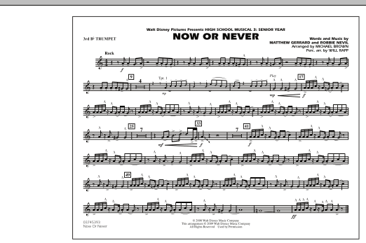 "Now or Never (from ""High School Musical 3"") - 3rd Bb Trumpet (Marching Band)"