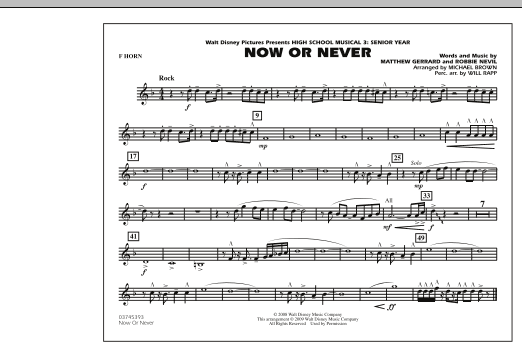 "Now or Never (from ""High School Musical 3"") - F Horn (Marching Band)"