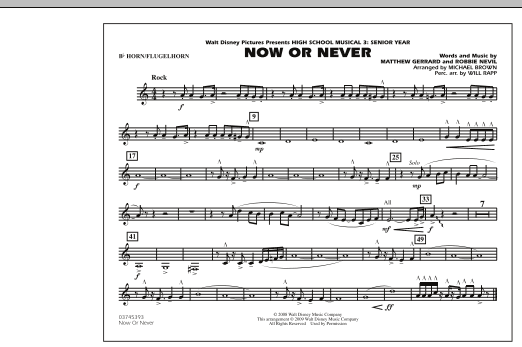 """Now or Never (from """"High School Musical 3"""") - Bb Horn/Flugelhorn (Marching Band)"""