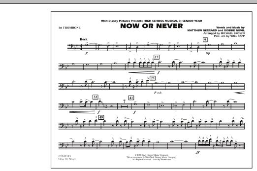"Now or Never (from ""High School Musical 3"") - 1st Trombone (Marching Band)"