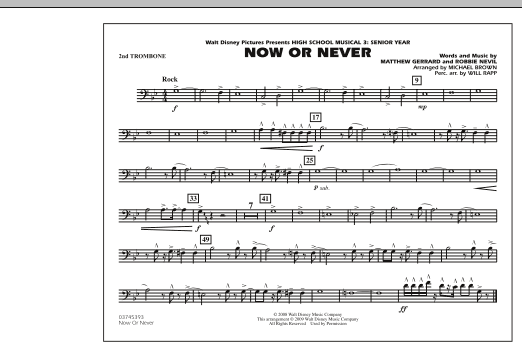 "Now or Never (from ""High School Musical 3"") - 2nd Trombone (Marching Band)"