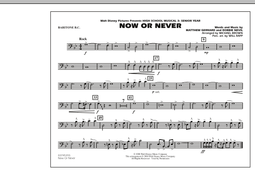 """Now or Never (from """"High School Musical 3"""") - Baritone B.C. (Marching Band)"""