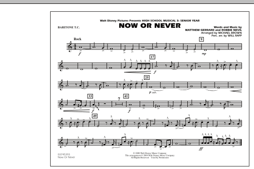 """Now or Never (from """"High School Musical 3"""") - Baritone T.C. (Marching Band)"""