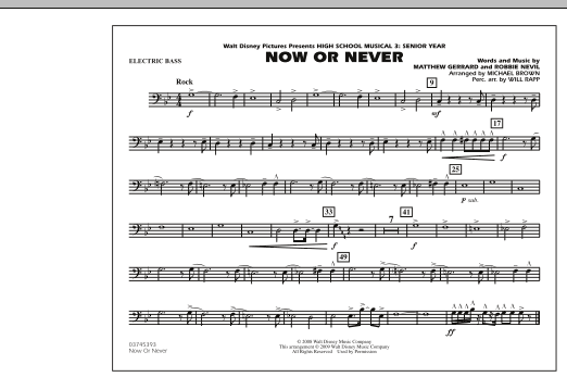 "Now or Never (from ""High School Musical 3"") - Electric Bass (Marching Band)"