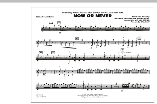 "Now or Never (from ""High School Musical 3"") - Bells/Xylophone (Marching Band)"