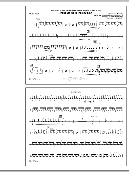 """Now or Never (from """"High School Musical 3"""") - Snare Drum (Marching Band)"""