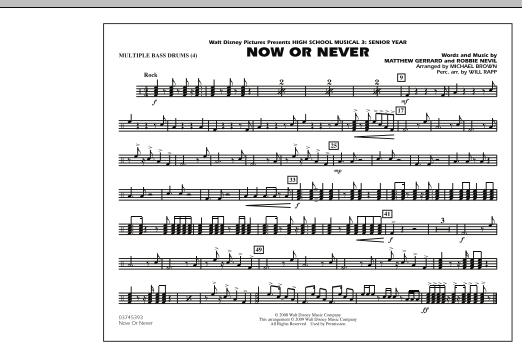 "Now or Never (from ""High School Musical 3"") - Multiple Bass Drums (Marching Band)"
