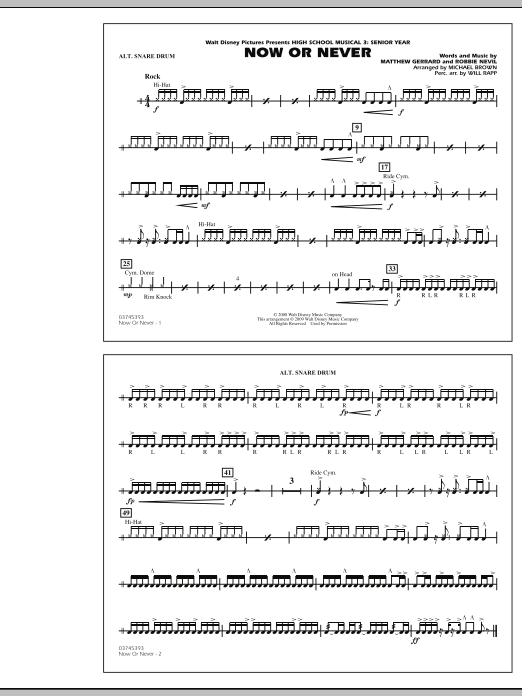 """Now or Never (from """"High School Musical 3"""") - Alternate Snare Drum (Easy) (Marching Band)"""