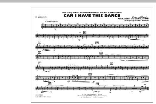 """Can I Have This Dance (from """"High School Musical 3"""") - Eb Alto Sax (Marching Band)"""