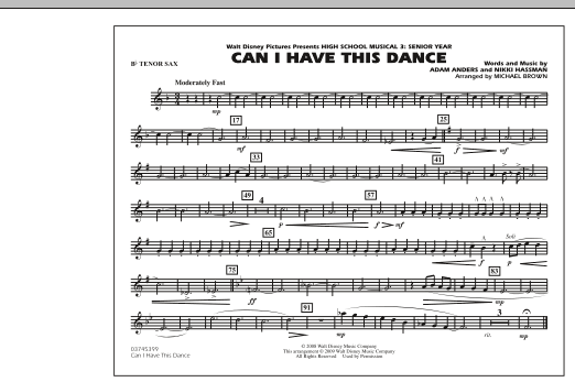 "Can I Have This Dance (from ""High School Musical 3"") - Bb Tenor Sax (Marching Band)"