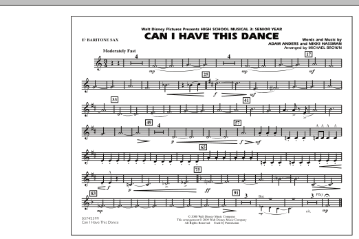 """Can I Have This Dance (from """"High School Musical 3"""") - Eb Baritone Sax (Marching Band)"""