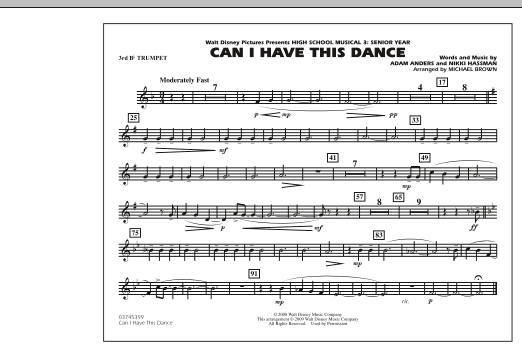 """Can I Have This Dance (from """"High School Musical 3"""") - 3rd Bb Trumpet (Marching Band)"""