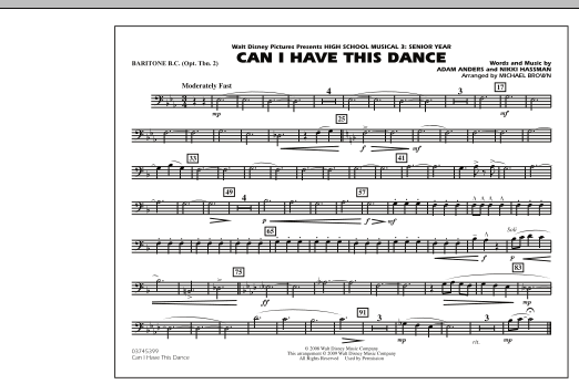 "Can I Have This Dance (from ""High School Musical 3"") - Baritone B.C. (Opt. Tbn. 2) (Marching Band)"