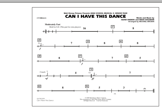 """Can I Have This Dance (from """"High School Musical 3"""") - Cymbals (Marching Band)"""