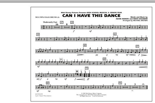 """Can I Have This Dance (from """"High School Musical 3"""") - Multiple Bass Drums (Marching Band)"""