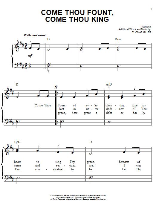 Come Thou Fount, Come Thou King (Easy Piano)