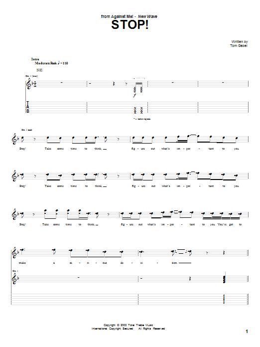Stop! Sheet Music