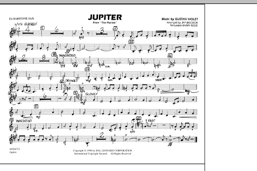 """Jupiter (from """"The Planets"""") - Eb Baritone Sax (Marching Band)"""