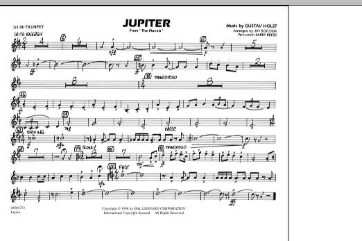 """Jupiter (from """"The Planets"""") - 3rd Bb Trumpet (Marching Band)"""