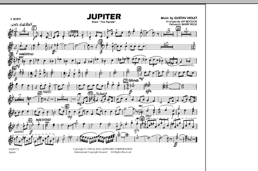 """Jupiter (from """"The Planets"""") - F Horn (Marching Band)"""