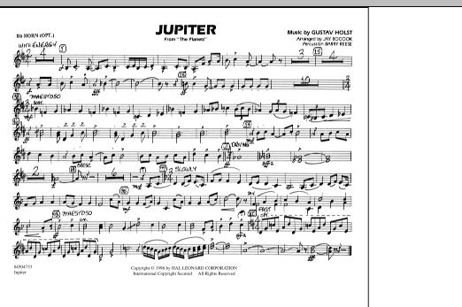 "Jupiter (from ""The Planets"") - Bb Horn/Flugelhorn (Marching Band)"