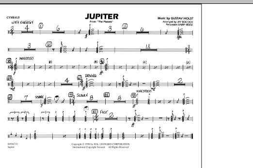 """Jupiter (from """"The Planets"""") - Cymbals (Marching Band)"""