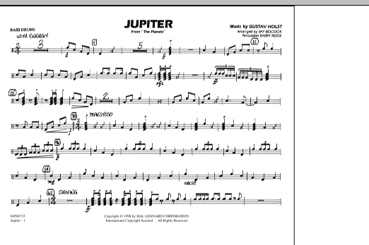 """Jupiter (from """"The Planets"""") - Multiple Bass Drums (Marching Band)"""