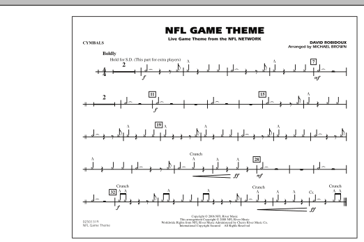 NFL Game Theme - Cymbals (Marching Band)