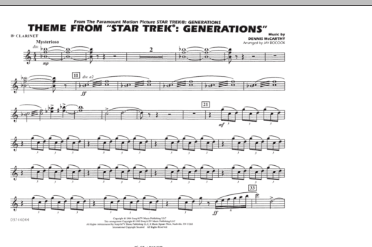 Theme from Star Trek: Generations - Bb Clarinet (Marching Band)