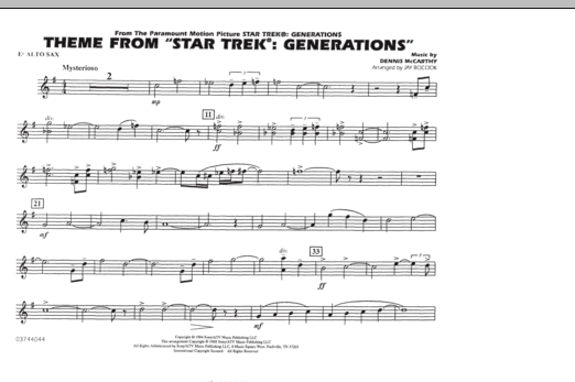 Theme from Star Trek: Generations - Eb Alto Sax (Marching Band)