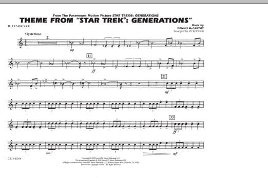 Theme from Star Trek: Generations - Bb Tenor Sax (Marching Band)